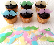 24 Edible Rice Paper Moustache Mustache Movember Cupcake Topper Cake Decoration