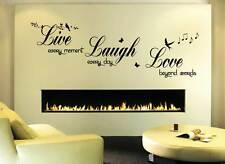 4 sizes Live Love Laugh - Wall Quote Sticker - Art Decor  living room wall decal