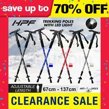 NEW HPF Trekking Hiking Poles Walking Sticks Anti Shock LED Adjustable Camping