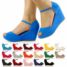 LADIES HIGH WEDGE SANDALS ANKLE STRAP SHOES NEW WOMEN PLATFORM WEDGES SIZE 3-8