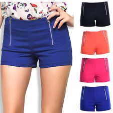 Damen Fashion Hot Pants Shorts Kurze Hüfte Hose Hotpants Doppel-Reißverschluss