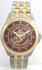 STEEL/GOLD TWO-TONE MEDALLION  MARINE CORPS WATCH -Gold/Dark Red Dial
