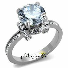 Sparkling 3 Ct Round Cut Cz Stainless Steel Engagement Ring Women's Size 5-10