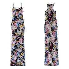 NEW WOMENS LADIES FLORAL PRINT RACER MUSCLE BACK CAMI LOOK STRAP LONG MAXI DRESS
