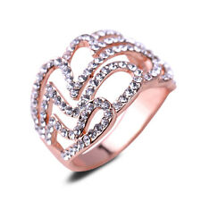 Heart Ring CZ Rhinestone 18K Rose Gold Plated Ring Women Wedding Engagement Ring