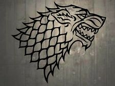 "Game of Thrones House of Stark Direwolf Vinyl Wall Sticker Decal 32""h x 36""w"