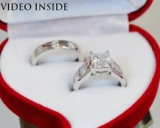 Princess Cut 2.CT 2Pcs Engagement Ring Wedding Diamond Ring F.22KT Made in Italy