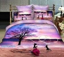 3D Bedding Quilt Doona Duvet Cover Bed Sheet Pillowcase Set - Romantic Love New-