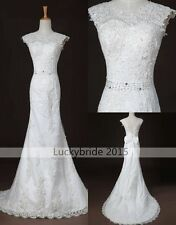 Vintage Mermaid Bow Scoop Neck White/Ivory Lace Wedding Dresses Bridal Gowns 10+