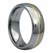 8mm Gold Plated Center Groove Ring Tungsten Carbide High Polished Band