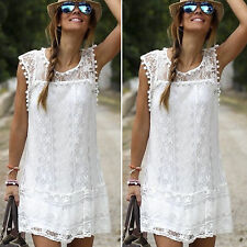 Womens Celeb Lace Party Evening Summer Ladies Dress Shorts Mini Dress Top White