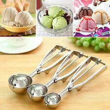 Ice Cream Spoon Stainless Steel Spring Handle Masher Cookie Scoop LO