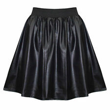 New Women Faux Leather Wet look PU Ladies Celeb Inspire Flared Skater Sexy Skirt