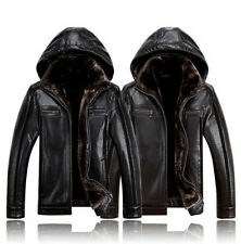 Mens Hooded Thick Fur Leather Warm Winter Business Jackets Casual Coats CN M-4XL