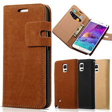 Soft Retro Leather Flip Wallet Case Cover Skin For Samsung Galaxy Note 4 N9100