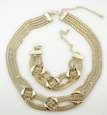 Banana Republic Multi Strands Gold Tone Chain Necklace Bracelet Set, SIGNED!