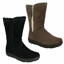 NELIA NET GTX LADIES CLARKS FUR TRIM WATERPROOF SLIP ON MID CALF BOOTS D FIT