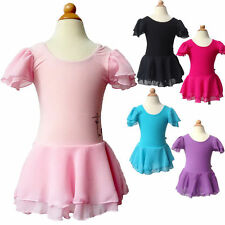 Kids Girls Leotard Gymnastics Ballet Dance Dress Tutus 3-14Y Chiffon Skirt New