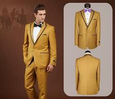 Groom Tuxedos Peak Lapel Best Man Suit Gold Groomsman Men's Wedding/Prom Suits