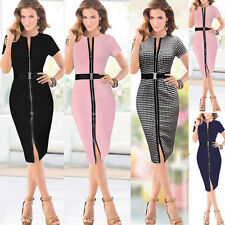 Women's Zipper Tunic Stretch Bodycon OL Business Work Party Belted Pencil Dress
