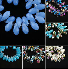 20Pcs Charms Faceted Glass Crystal Teardrop Spacer Beads Pendant Finding 6x12mm