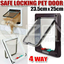 Brown Frame Brand New Safe 4-Way Locking Lockable Pet Cat Small Dog Flap Door
