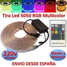 Tira de Led 220v 5050 RGB con Mando IMPERMEABLE Waterproof IP67 strip 230V