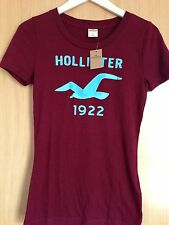 New Hollister by Abercrombie and Fitch Burgundy T-Shirt S M L UK 8 10 12 14