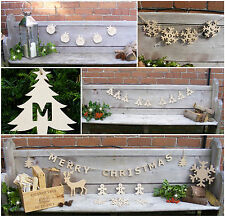 Wooden CHRISTMAS Bunting, Snowflakes, Reindeer, Trees, Decorations *MANY STYLES*