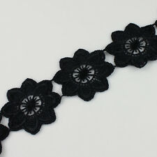 Off-white Black Venise Polyester Flower Lace Trim Applique Sewing Craft 2 Yards