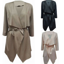 Sexy Women Ladies Fashion Design Waterfall Belted Long Sleeve Trench Coat Jacket