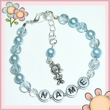 Girls Baby Personalised Silver Little Girl Charm Friendship Bracelet Gift - BR02