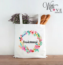 BRIDESMAID FLORAL TOTE SHOPPER SHOPPING BAG PERSONALISED WEDDING HEN PARTY GIFT
