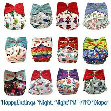 HappyEndings™ Night AIO Cloth Diaper w Pocket Bamboo Charcoal or Microfleece