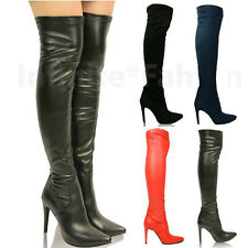 New Womens Ladies Over the Knee Thigh High Stiletto Heel Stretch Calf Boots Size
