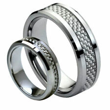 His & Her's 8MM/6MM Tungsten Carbide Carbon Fiber Inlay Wedding Band Ring set