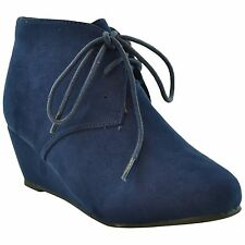 Girls Faux Suede Low Heel Wedge Lace Up Ankle Boots Casual Winter Shoes Navy