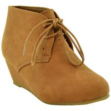 Kids Ankle Boots Faux Suede Low Heel Casual Wedges Tan