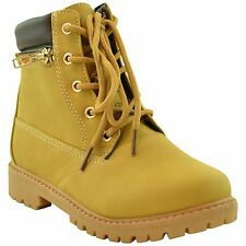 Girls Lug Sole Ankle Boots Faux Leather Lace Up Ankle Padded Hiking Shoes Camel