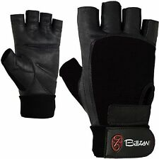 WEIGHT LIFTING GLOVES LONG WRIST STRAP GYM WORKOUT FITNESS TRAINING BLACK