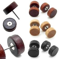 Wooden Earrings Tunnel Wood Stainless Steel Fake Plugs Stretcher 10 mm Black