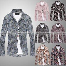 Fashion Mens Floral Luxury Stylish Casual Dress Slim Fit T-Shirts Long Sleeve