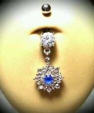 Belly Naval Button Ring Dangle Jewelry Piercing Sexy 14g Blue Flower Shaped