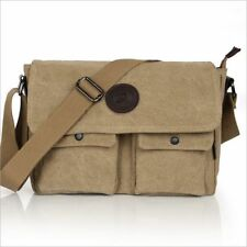Men's Vintage Canvas Leather School Satchel Military Shoulder Bag Messenger Bag