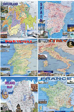 COUNTRY MAP POSTER   POLITICAL VINTAGE WORLD ATLAS RETRO LAMINATED EDUCATIONAL