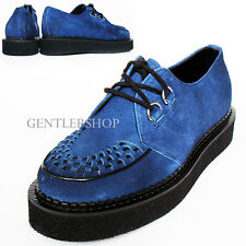 Mens Navy Suede Leather Blown Rubber Platform Sole Creeper Shoes 1005, GENTLER