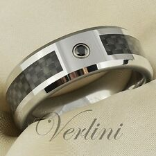 Carbon Fiber Inlay Tungsten Ring Black Diamond Men's Wedding Band Size 6-13