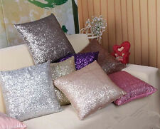Solid Color Glitter Sequins Pillow Case Lounge Cafe Decor Cushion Cover NEW HUUS