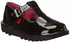 Kickers Kick Lo Aztec Infant Junior Girls Back To School Black Patent Shoes