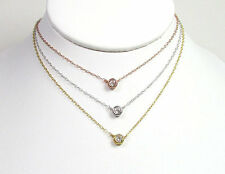 Solitaire Bezel Set CZ Necklace in Sterling Silver, Gold Vermeil & Rose Gold